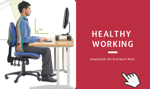 Cardinus US Ergonomics E-learning brochure - man sitting at desk with the correct posture