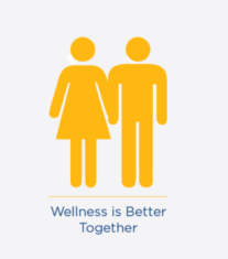 wellness is better together logo - man and woman standing together