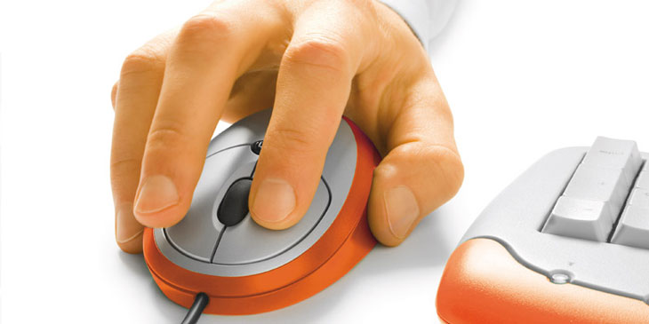 Close up of hand on a computer mouse