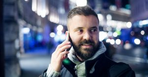 Man conducts dynamic risk assessment while on phone