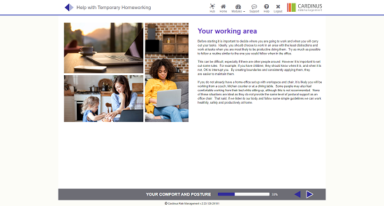 Screenshot of your working area homeworking page
