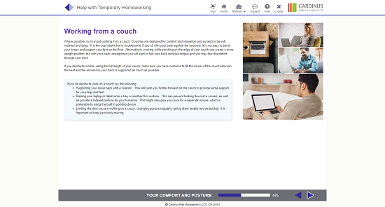 Screenshot of working from a couch homeworking page