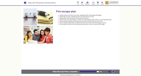 Screenshot of fire escape plan homeworking page