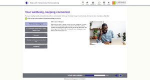 Screenshot of your wellbeing, keeping connected homeworking page