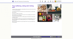 Screenshot of your wellbeing, eating well, feeling well homeworking page