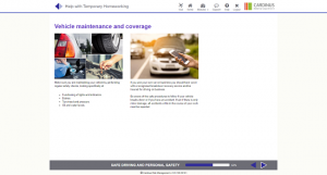 Screenshot of vehicle maintenance and coverage homeworking page