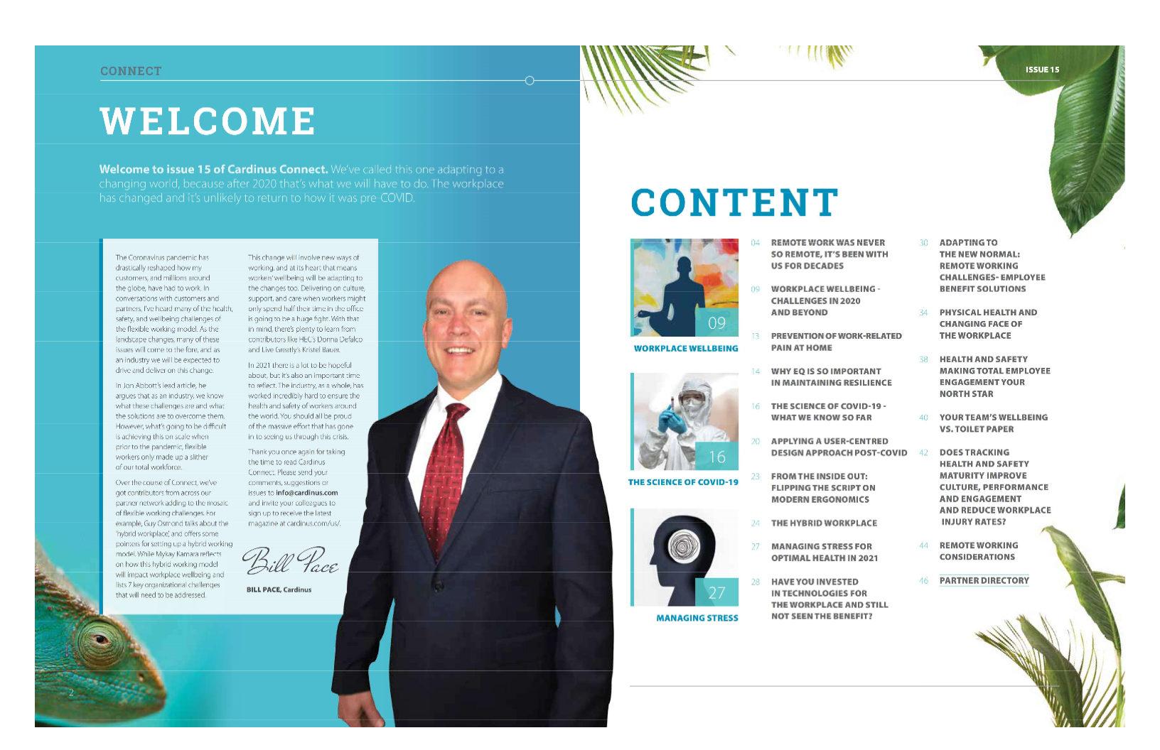 Bill Pace's introduction and contents page from Cardinus Connect, Issue 15