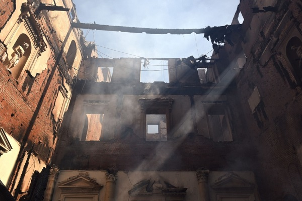 Clandon Park - the scene of devastation.