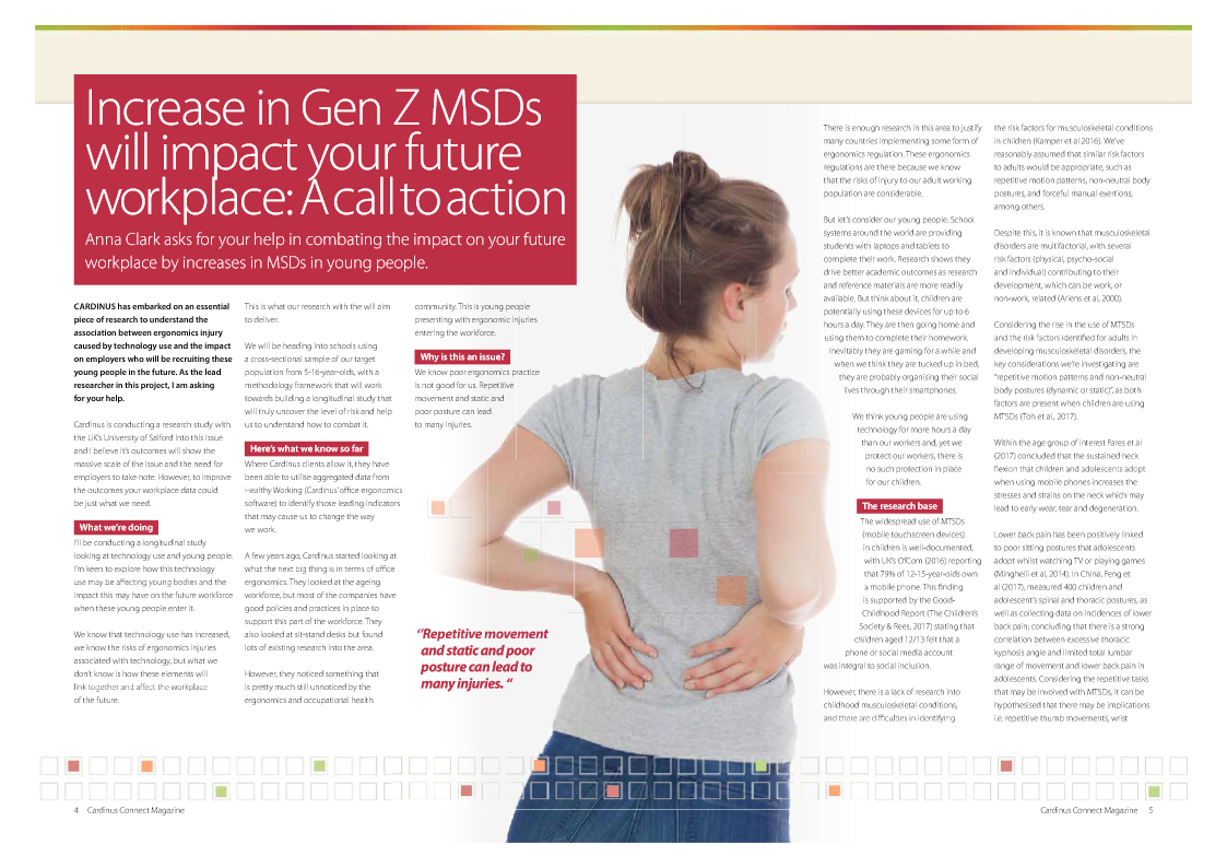 Increase in Gen Z MSDs Will Impact Your Future Workforce - A Call to Action