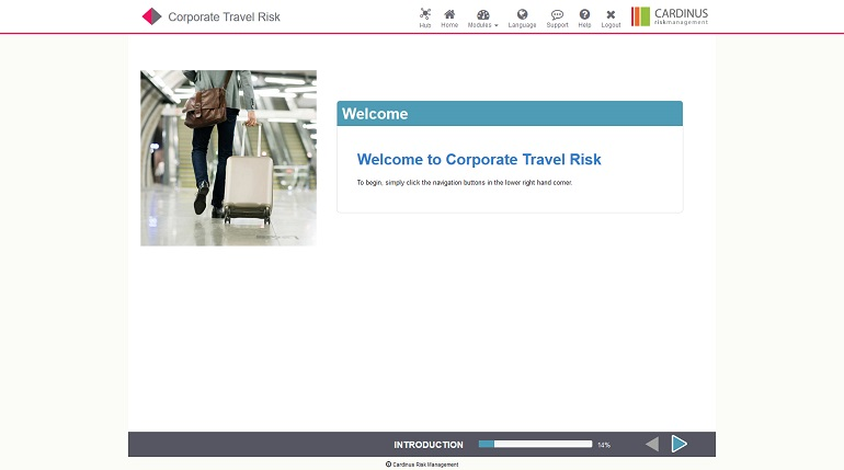 Welcome to Corporate Travel Risk, E-Learning Screenshot