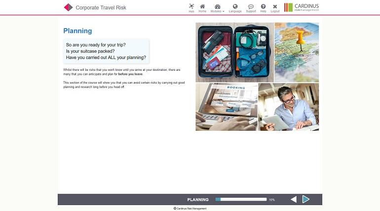 Corporate Travel Risk E-Learning Screenshot
