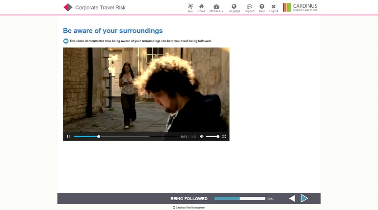 Corporate Travel Risk E-Learning Screenshot