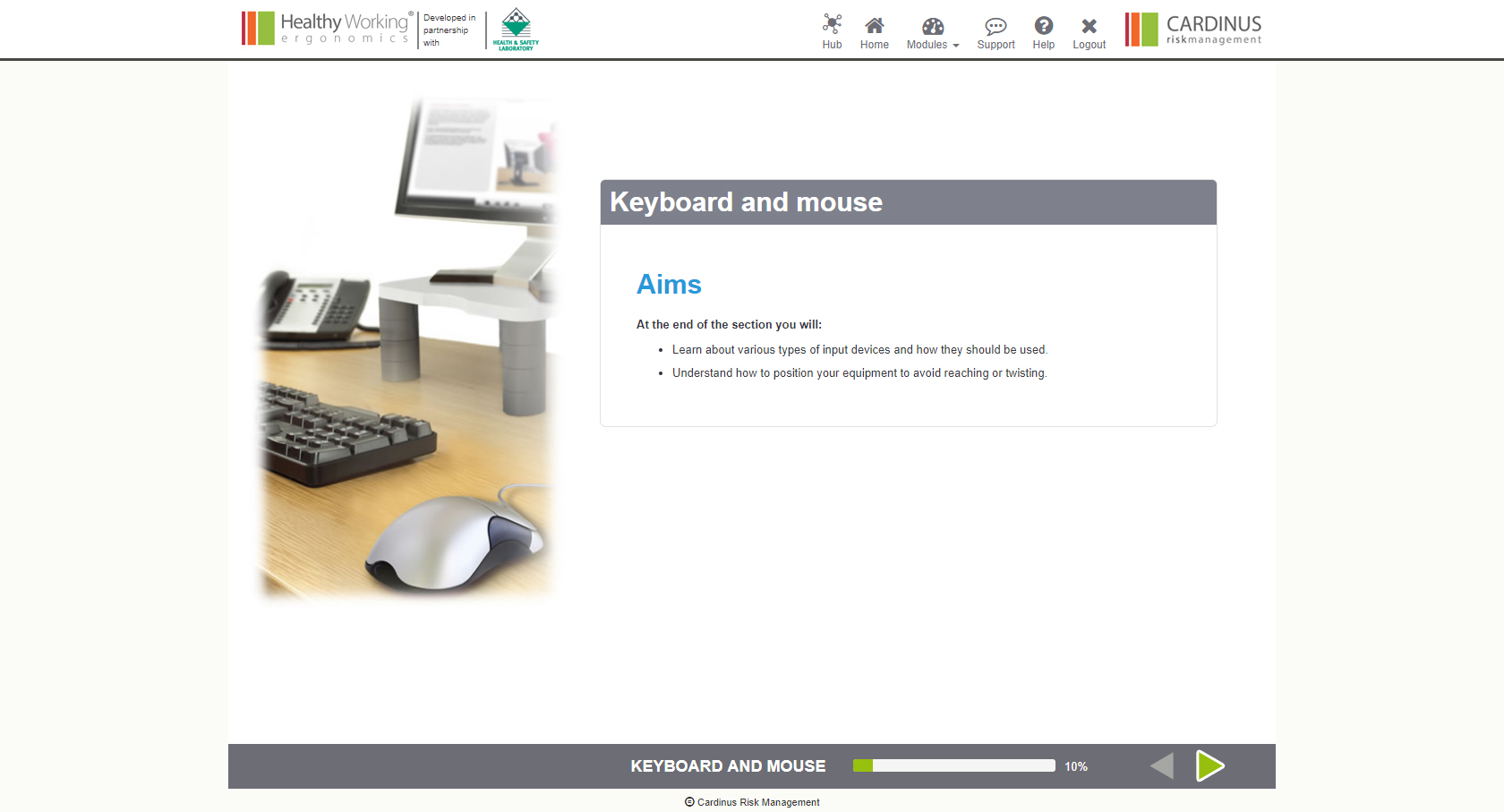 Keyboard and Mouse, Aims | Healthy Working