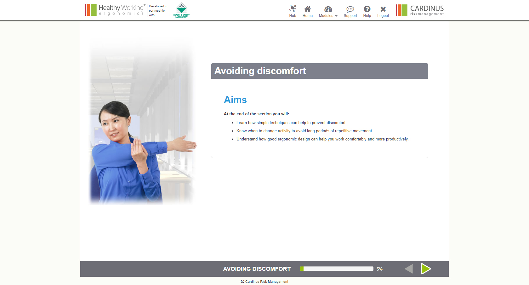 Avoiding Discomfort, Aims | Healthy Working