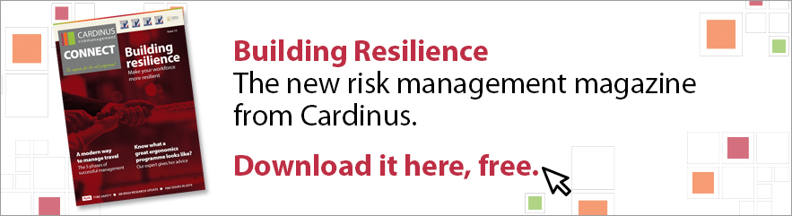 Building Resilience - the new risk management magazine cover from cardinus advert banner