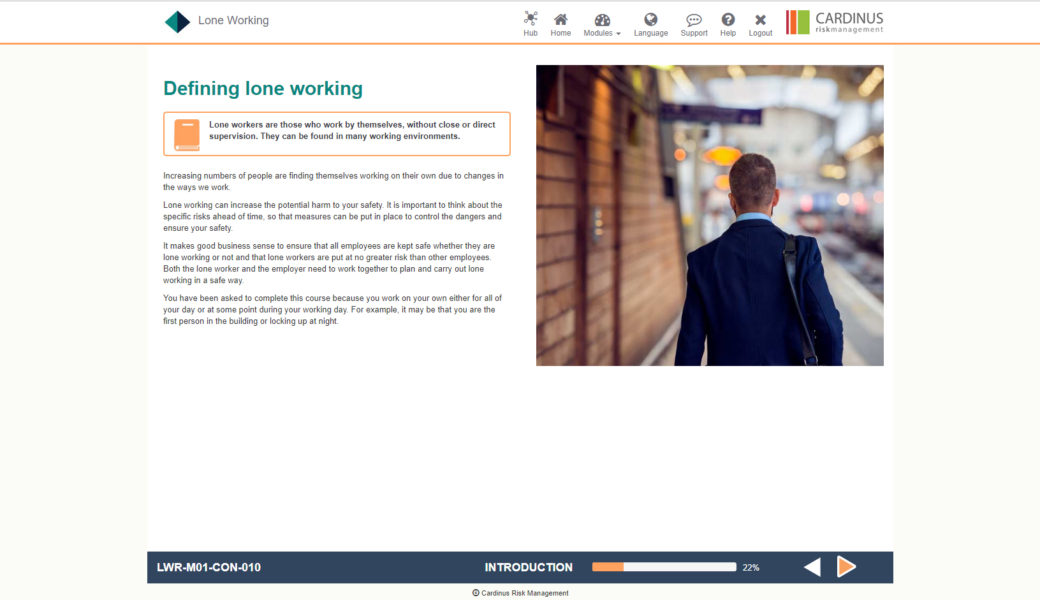Lone Worker E-Learning | Healthy Working