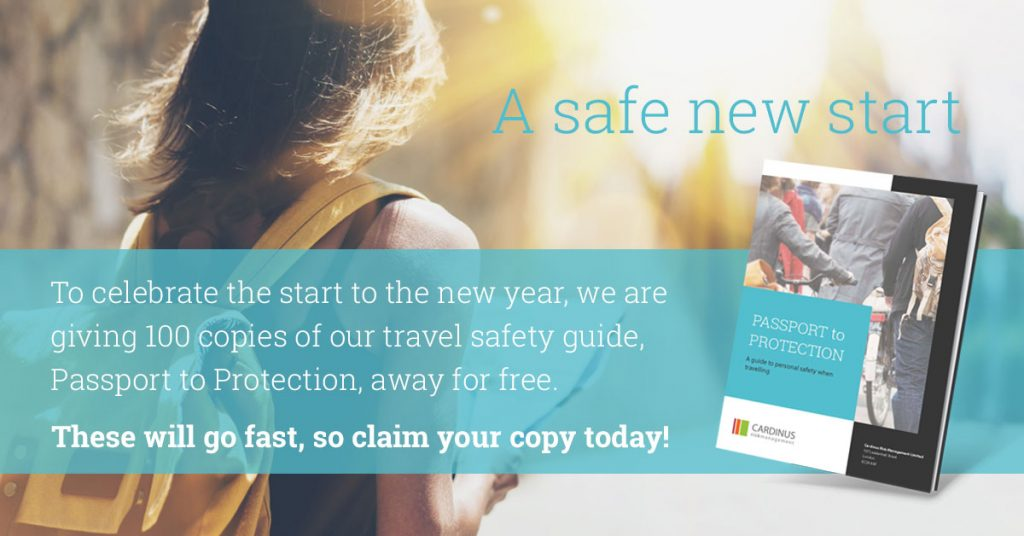Cardinus give away 100 copies of Passport to Protection, the travel safety handbook.
