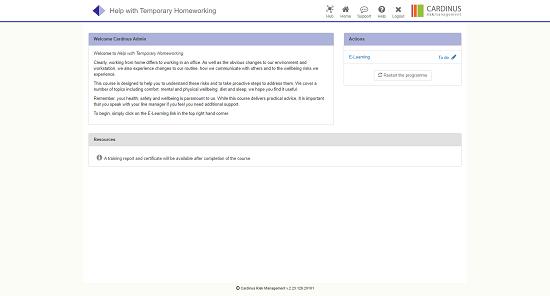 Screenshot of help with temporary homeworking
