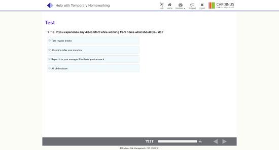 Screenshot of homeworking test questions
