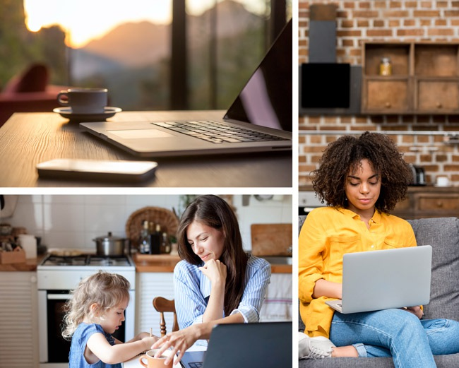 Home workers dealing with temporary home worker issues such as working from the couch or looking after children