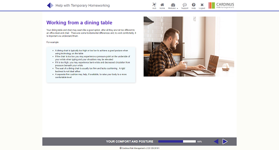Screenshot of working from a dining table homeworking page