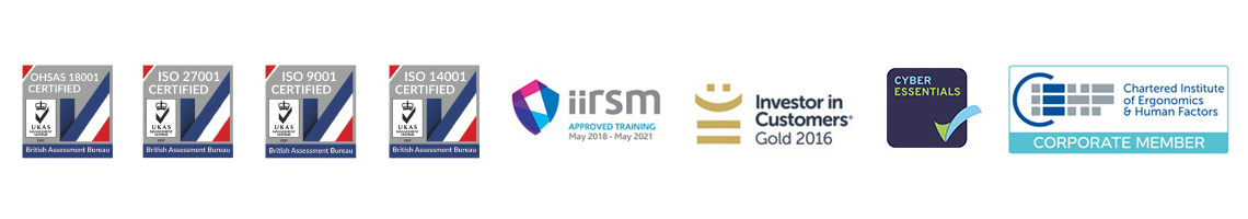 ISO, IIRSM, IIC, Cyber Essentials, CIEHF logos