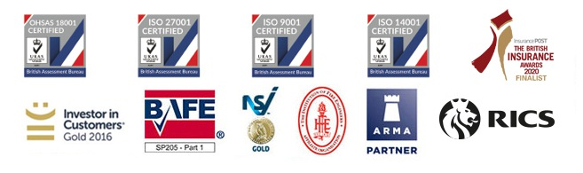 Logos related to the accreditations and certifications of Cardinus Risk Management and their property solutions