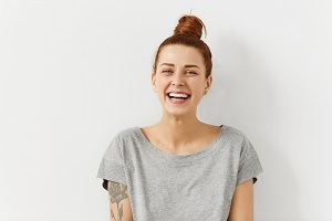 Women laughs
